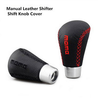 Top Quality Universal Manual Leather Shifter Shift Knob Cover Stitch MOMO Shifter Lever Car Styling
