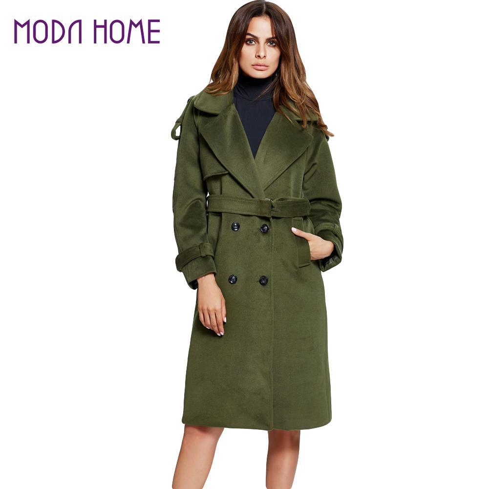 2017 Winter Women Long Coat Solid Color Double Breasted Manteau Femme Pockets Turn-Down Collar Long Sleeve Outwear Jacket Green