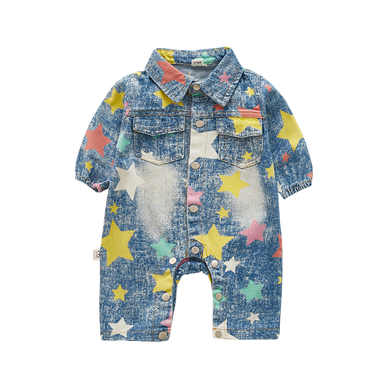 autumn new fashion baby boys cowboy clothing   rompers   newborn jeans wear children clothing child spring clothes jumpsuit