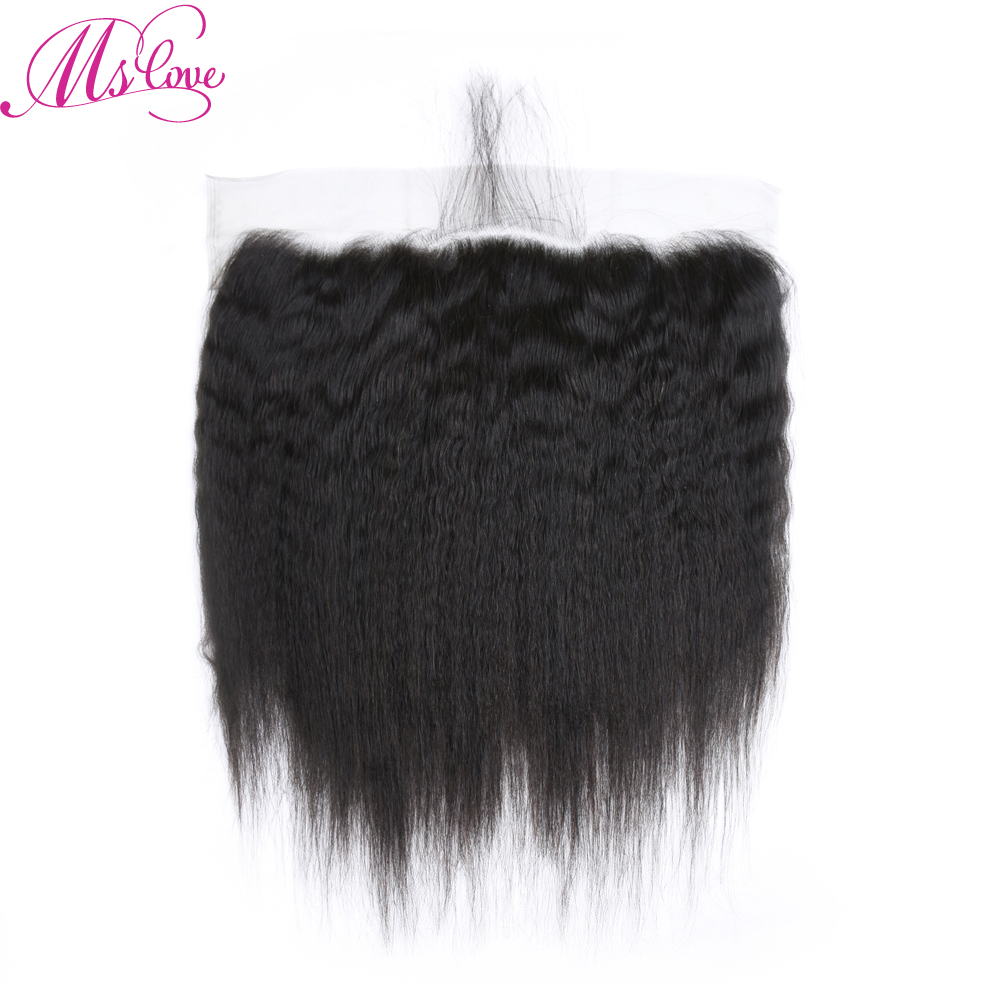 2 Bundles Brazilian kinky straight Human Hair With Lace Frontal Pre Plucked 13X 4 Lace Closure Non Remy Hair