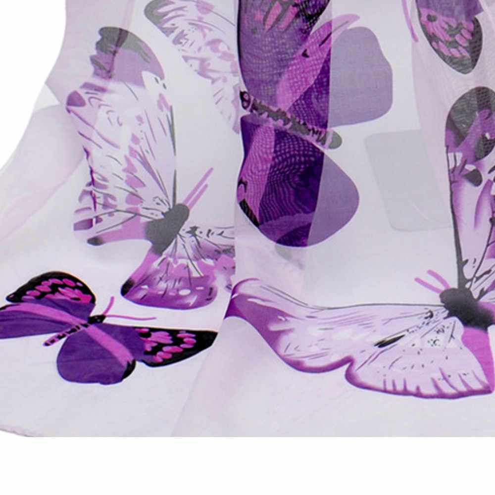 Новый модный шарф с принтом Длинный Элегантный женский шарф осень зима Женская Бабочка шаль с принтом шарфы Прямая доставка # T