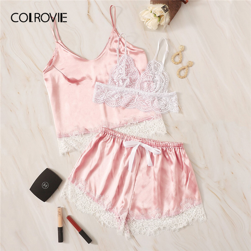 COLROVIE Pink Eyelash Lace Satin Lingerie   Set   3pack Women   Pajamas     Set   2019 Summer Sleeveless Top And Shorts Female Sleepwear