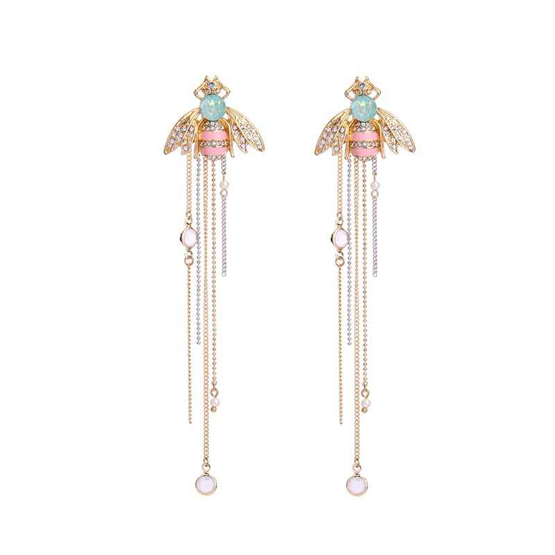 KISS ME Brand Jewelry for Women Link Chain Fringe Long Earrings Cute Crystal Insect Bee Fashion Earrings Brincos