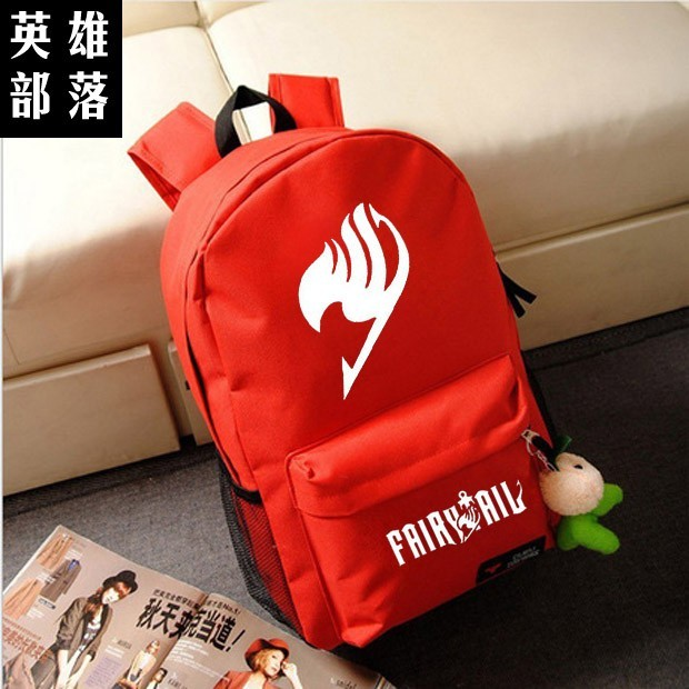 Free shipping Korean version Candy colors FAIRY TAIL logo printing man woman canvas schoolbag red green black blue Backpacks free shipping korean version candy colors fairy tail logo printing man woman canvas schoolbag red green black blue backpacks