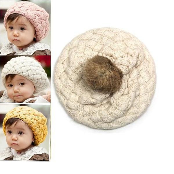 Kids Girls Baby Handmade Crochet Knitting Beret Hat Cap Cute Warm Beanie 4Colors XL145 Free shipping&Drop Shipping lovely 4 colors kids baby crochet knit cap knitting winter warm beret hat cap bb75