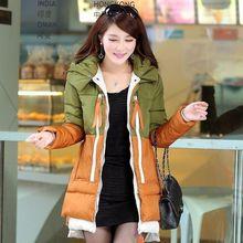 ГОРЯЧАЯ Мода Зимняя куртка Женщины Долго Стиль Парки Пальто Тонкий Вскользь Зимнее Пальто Женщин Теплая Куртка Плюс Размер