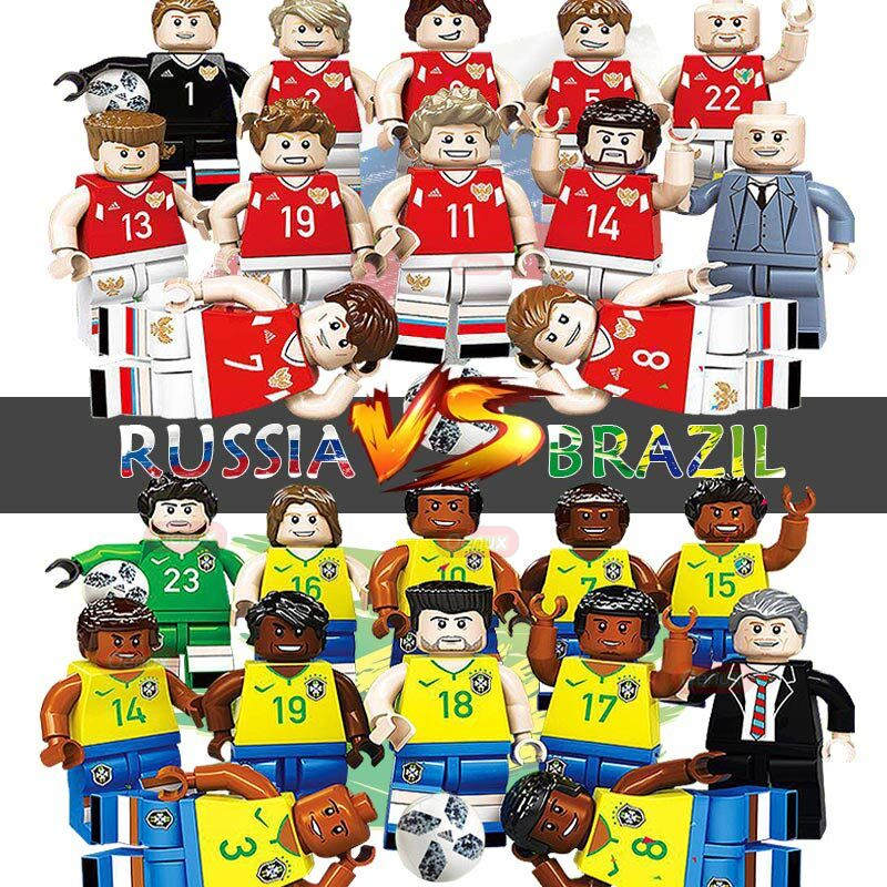 Oenux New Arrival Russia VS Brazil Football Team Model Football Player Figures Building Block Brick Collection Toy For Kid Gift