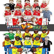 Oenux Chegada Nova Rússia VS Brasil Time de Futebol Modelo de Jogador de Futebol Figuras Building Block Tijolo Coleção Toy Para Presente Do Miúdo