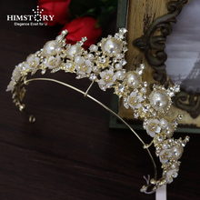Retro European Baroque Faux Pearls Brides Tiaras Crowns Gold Flowers Headpieces Crystal Wedding Dresses Hair Accessories