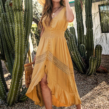 CUPSHE Elegant V Neck Slim Button Long Maxi Dress 2020 New Summer Beach Boho Yellow Ruffled Shirring Sleeveless Sundress Vestido