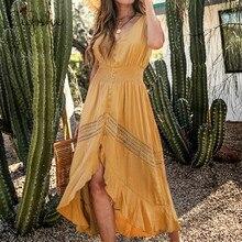 CUPSHE אלגנטי V צוואר Slim כפתור ארוך מקסי שמלת 2020 חדש קיץ חוף Boho צהוב פרע כיווצים שרוולים קיצי Vestido