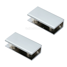 20PCS Zinc Alloy Glass Board Bracket Rectangular Shape Chrome Finished Glass Clamps For 8 to 12mm Shelves Support Clips JF1788 solid aluminum alloy support frame wood board shelves triangular bracket 30cm long x2