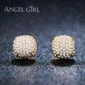 Angel girl clássico da moda senhora alta banhado a ouro de cristal cz brincos stud para mulheres meninas presente brincos de presente de casamento