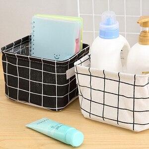 Cute Printing Desktop Storage Basket Waterproof Organizer Cotton Linen Sundries Storage Box Underwear Storage Bag Cabinet