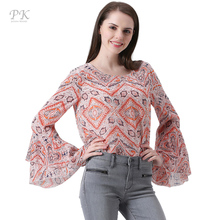 PK 2018 chiffon blouse sexy blouse shirt female women tops blusas mujer ruffle vintage embroidery embroidery crochet blouse