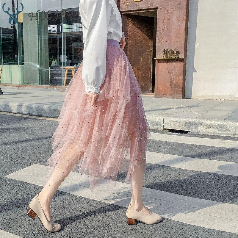HXJJP Summer Sweet Sequined Stars Irregular A-line Long Mesh Skirts Elastic Waist Bling Tiered Tulle Calf Pleated