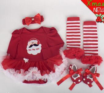 Doll's Christmas Cloth Wear Fit For 50-57cm Silicone Reborn Baby Doll Dress Shoes Headband Sock 4pcs/set Cloth Suit Accessories