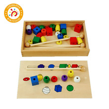 Montessori Kids Toys Colorful Bead Sequencing Set Block Classic Toy