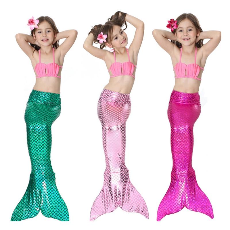 Mother & Kids Brave 4 Pieces Mermaid Tails For Girls Swimming Kids Mermaid Costumes Swimmable Children Swimwear Zeemeerminstaart Met Monofin Cosplay