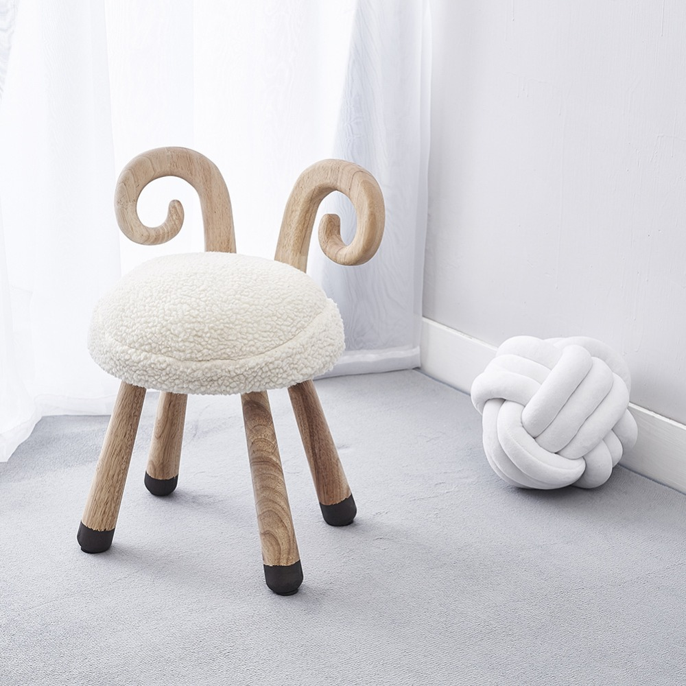 Natural Oak Wooden Animal Sheep Kids Chair Home Furniture Wooden Stool Birthday Gift Nordic Style Nursery Decor Design Assembly