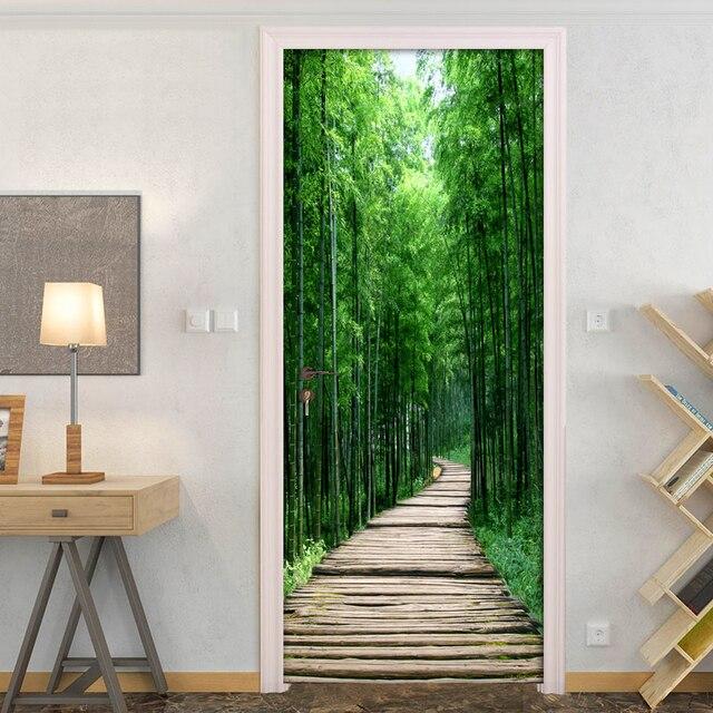 במבוק יער עץ לוח קטן כביש 3D תמונה טפט קיר ציור סלון חדר שינה דלת מדבקת קישוט קיר דה פארדה