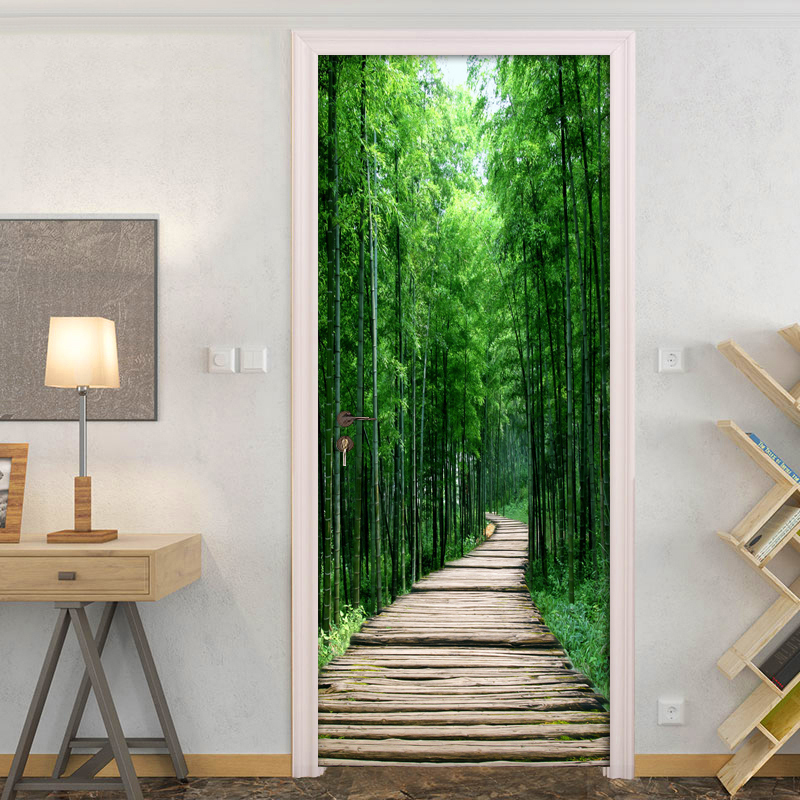 Bamboo Forest Wood Board Small Road 3D Photo Wallpaper Wall Painting Living Room Bedroom Door Sticker Decoration Mural De Parede fantasy forest large light living room bedroom wall painting mural 3d wallpaper tv backdrop stereoscopic 3d wallpaper