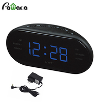 EU US Modern AM FM Radio Alarm Clock Digital Display Snooze Function Desktop Table Electronic Alarm