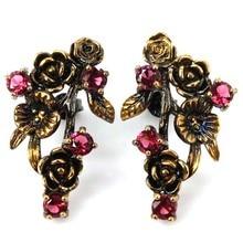 Vintage Rough Pink Raspberry Rhodolite Garnet Wedding 925 Black Gold Silver Earrings 30x19mm