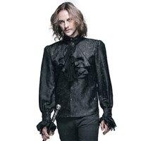 Punk Gothic Men Tuxedo Shirt Fashion Novelty Black Palace Blouses Stage Shirt Men Long Sleeve Printing Shirt Blouse