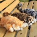 Super Kawaii Simulation Cats Plush Toys Kittens Roll Cat 3 Colors Stuffed Doll Kids Room Decoration Birthday Gifts 30cm 1pc