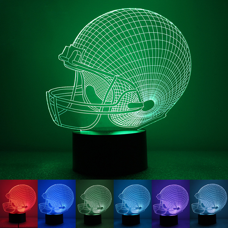 Football helmet 3D creative Nightlight color seven modern minimalist USB power supply LED green lighting