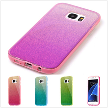 For Samsung Galaxy S7 Edge Case TPU Luxury Blue Ray Soft Board + PC Frame Shinny Bling Bling Cell Phone Cover for Samsung S7