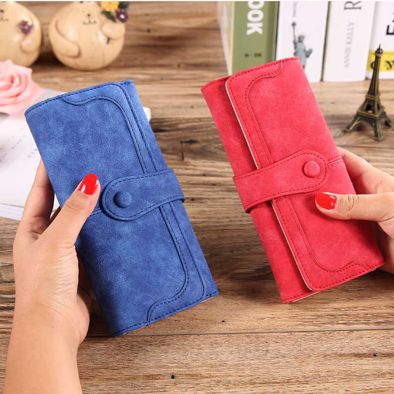 2018 Retro Matte Stitching Leather Long Women Wallet Luxury Brand Desigher Cion Purse Casual Hasp Clutch For Credit Cards Holder