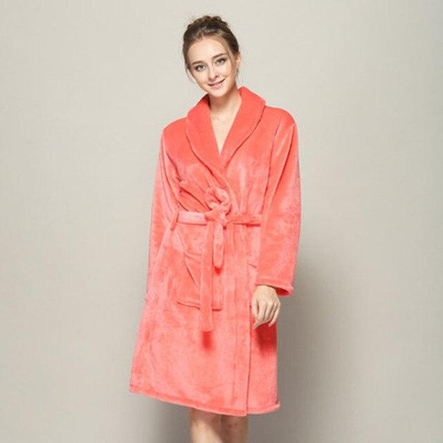 2017 Women Robe Spring Winter Bathrobes Long Sleeve Flannel Robe Female Sleepwear Lounges Homewear Pyjamas