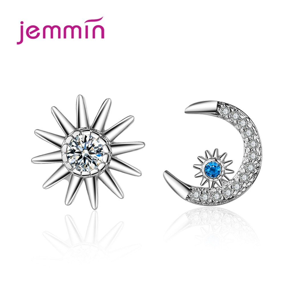 Best Selling Korean Style Shinny Cubic Zirconia Asymmetrical Sun Moon Star Stud Earrings Fast Shipping Jewelry