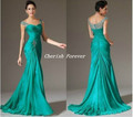 Free Shipping 2015 long green chiffon bridesmaid dress hot elegant women gowns wedding party affordable dress cap sleeves BD246
