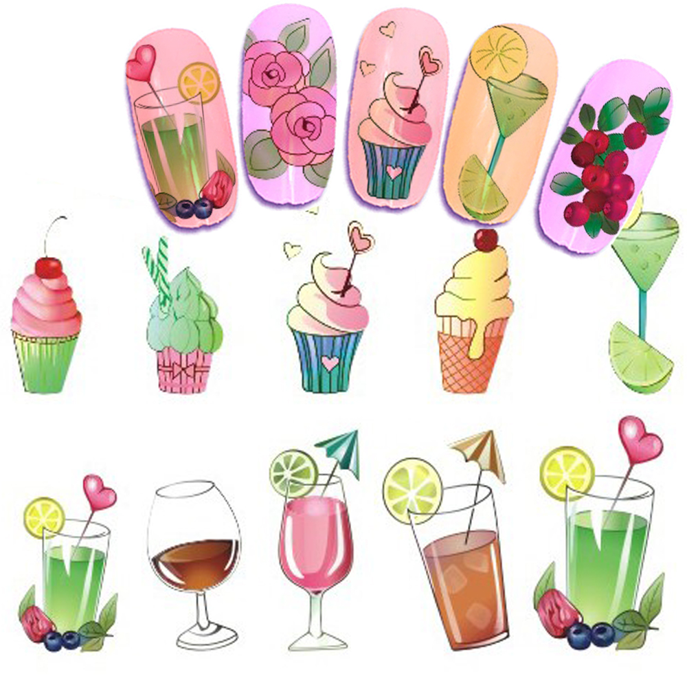 1pcs Water Transfer Nail Sticker Summer Design Flowers Butterfly ice cream Full Cover Nail Color Art Manicure SASTZ470-473 1pcs water nail art transfer nail sticker water decals beauty flowers nail design manicure stickers for nails decorations tools