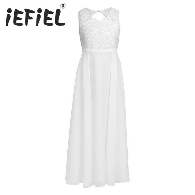 IEFiEL 2020 Sommer Echt Fotos Weiß/Elfenbein Spitze Blumen Mädchen Kleider Für Hochzeiten Kinder Prom Ballkleid Kleider Für geburtstag Party