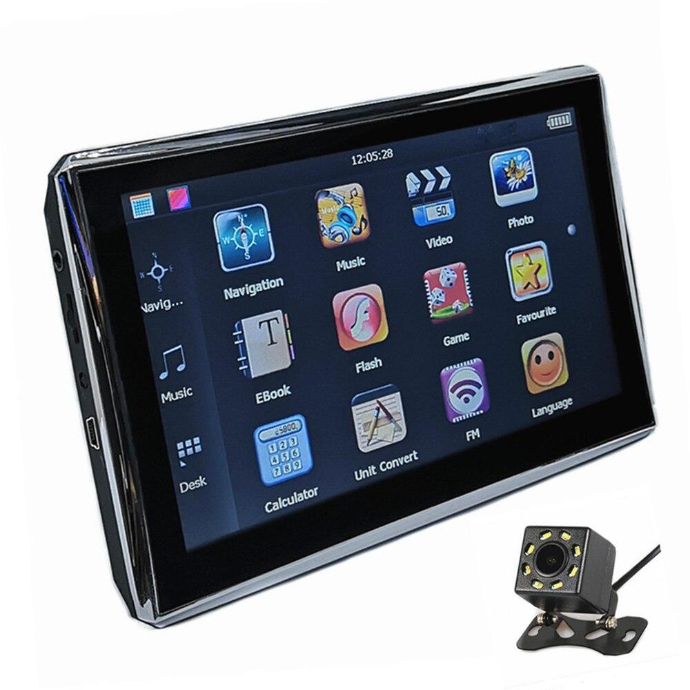 7-дюймовый автомобильный gps навигации 128 M/8G стерео система со спутниковой навигацией FM передатчик Бесплатные дорожные карты, Bluetooth Дополнительно AV-IN и камера заднего вида