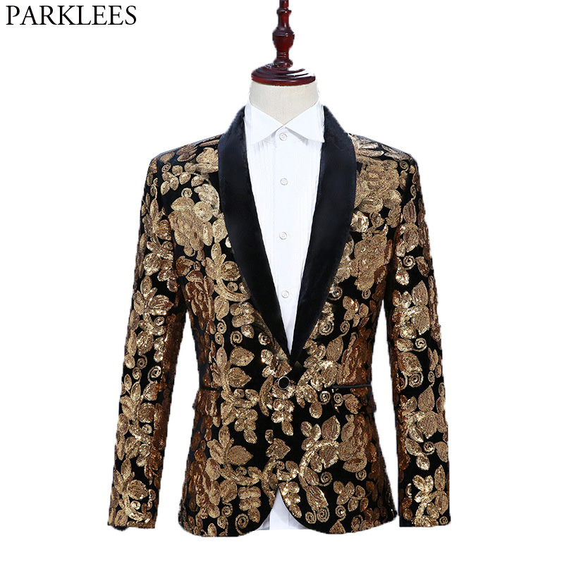 Luxury Gold Floral Sequin One Button Velvet Blazer Men Brand Shawl Lapel  Punk Suit Jacket For Dinner Party DJ Nightclub Wedding 7f163adf2b5a