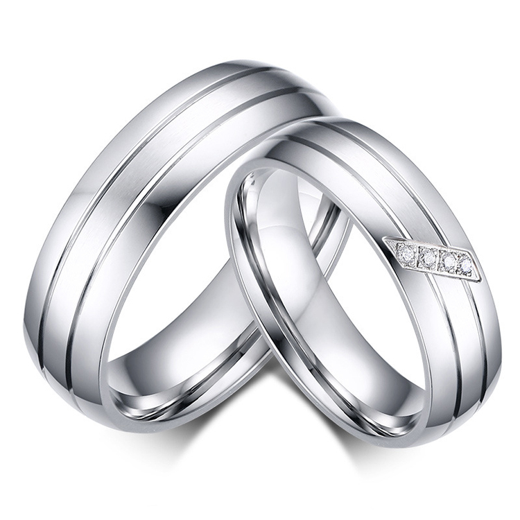 Western Design Mens Womens Stainless Steel Couples Wedding Real Love