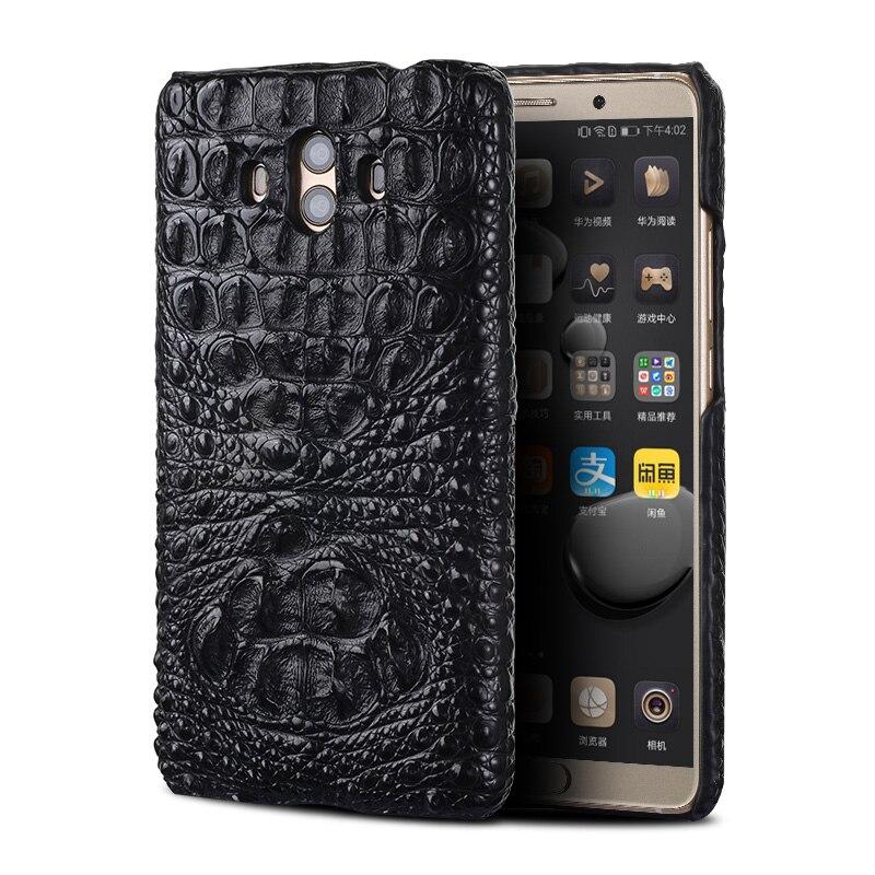 Piel de cocodrilo genuino funda del teléfono para Huawei Mate 10 teléfono cubierta protectora de la caja del teléfono de cuero para Huawei p9 lite caso