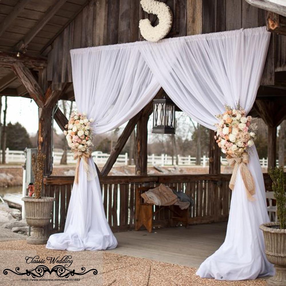 3M*3M Pure White Chiffon Backdrop For Wedding Decoration