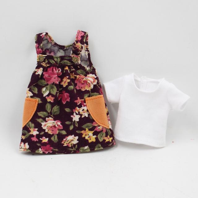 Neo Blythe Doll Flower Dress & White T-Shirt