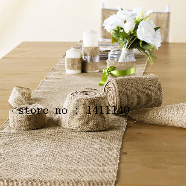 Burlap Table Runner Trim Wedding Party Jute Hessian Table Decorations  Wedding Banquet Decorations With Free Shipping