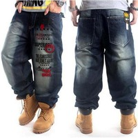 Fashion AKA Rinse Man Jeans Pants Embroidery HIPHOP Street Dance Leisure Loose Losing Weight Plus Size