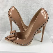 Women High Heels Shoes Pumps Lady Prom Plain Rivet Pointed Toe Stiletto Summer New