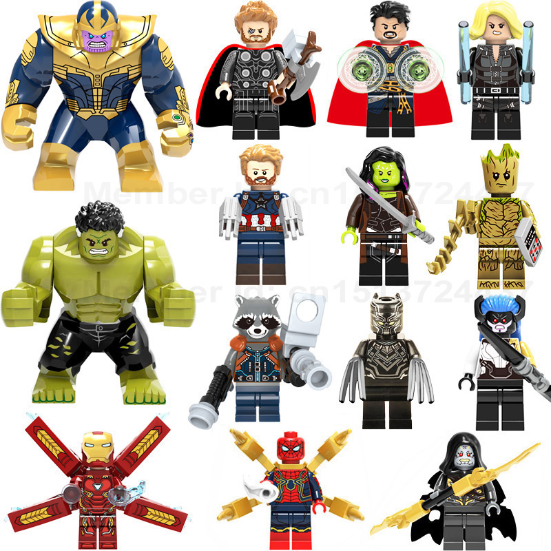 цены Super Heroes lEGOED Marvel Avengers Infinity War Iron Man Thanos Thor Black Panther Falcon Gamora Hulk Building Blocks toy