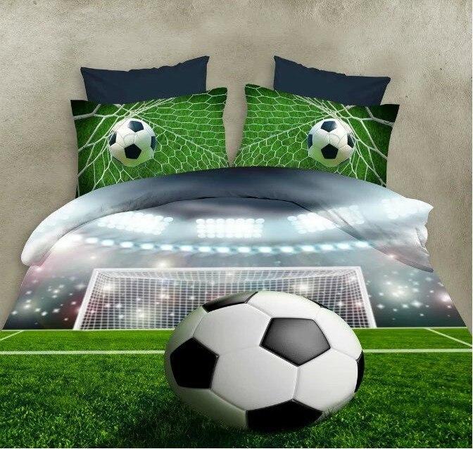 Voetbal lakens 3D Beddengoed sets dekbed dekbedovertrek bed in een - Thuis textiel