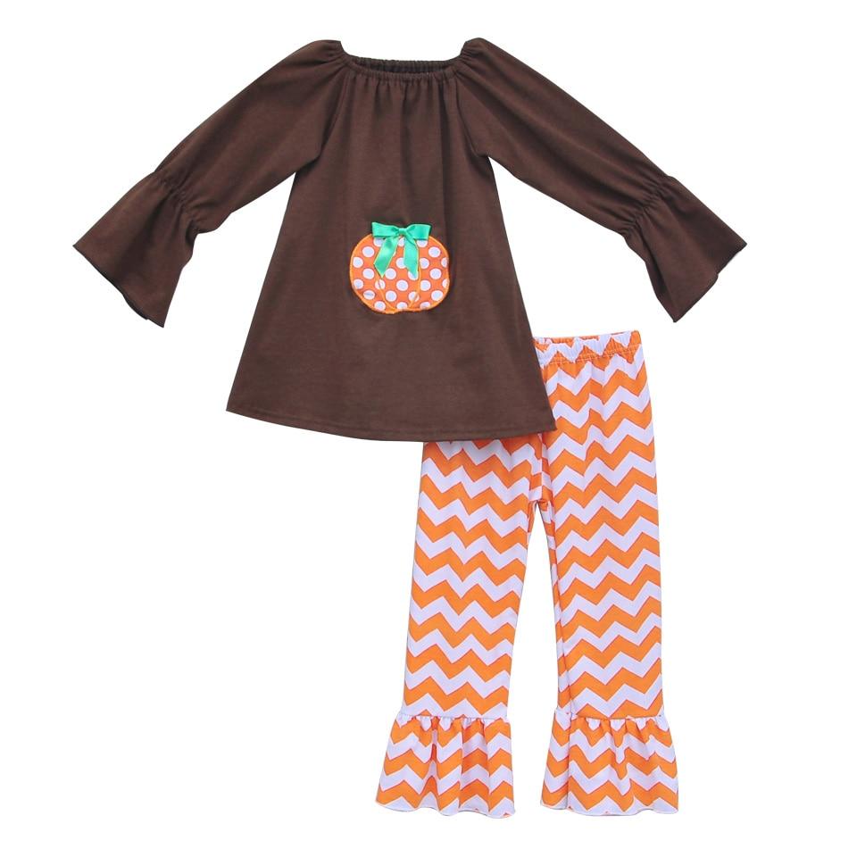 Halloween Fall Qızlar paltarı butiki Ruffle Şevron şalvar Uzun - Uşaq geyimləri - Fotoqrafiya 1
